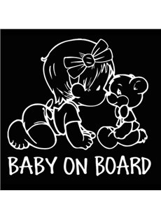 Cartoon Style Baby Girl And Teddy Bear PET Warning Sign Car Stickers