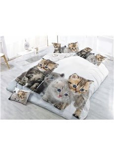 Four Kittens With Blue Eyes Printed 5-Piece Comforter Sets