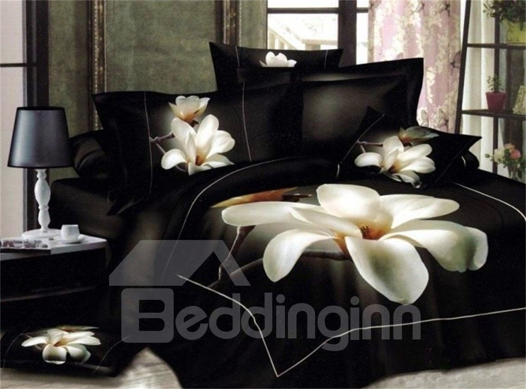3d White Magnolia Flower Printed 5 Piece Comforter Sets Pic