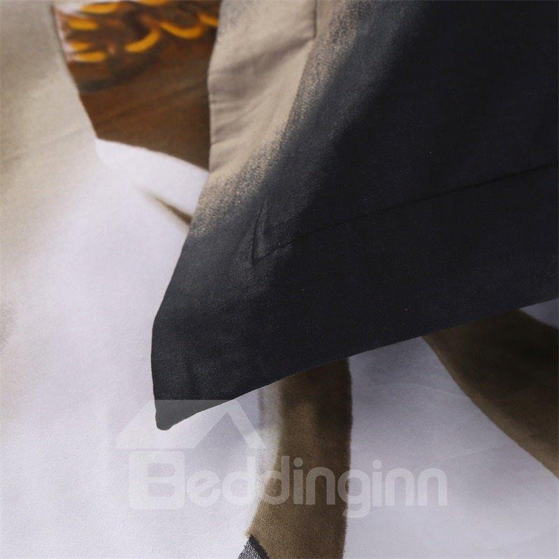 3D White Magnolia Flower Printed 5-Piece Comforter Sets