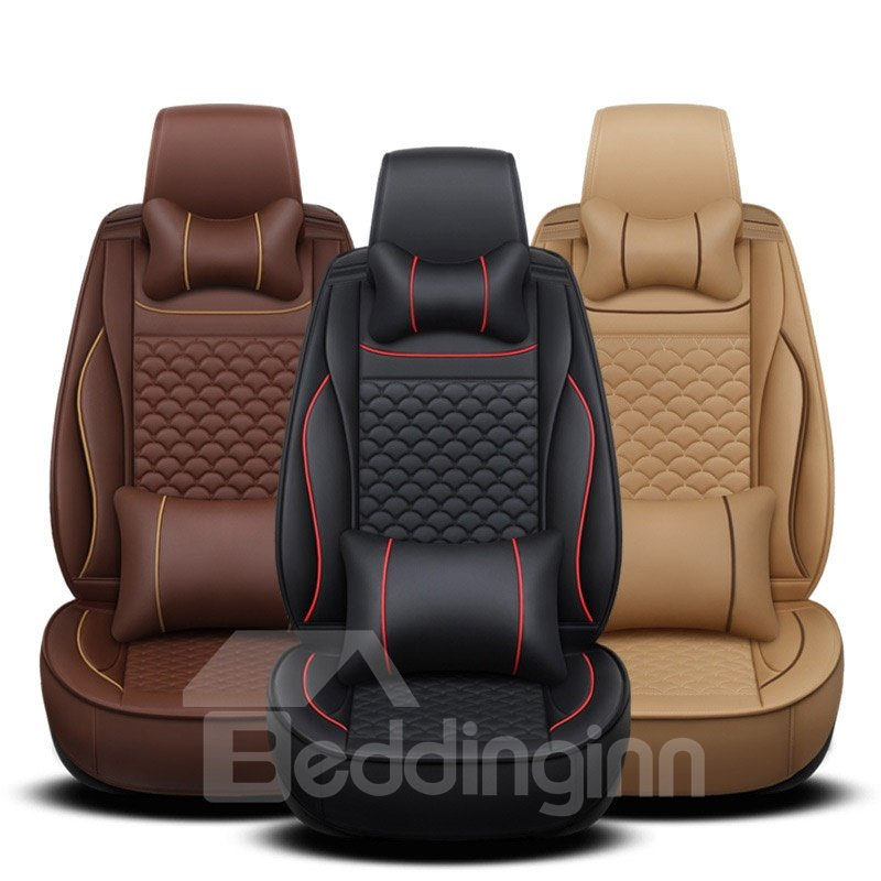 Sports Style PVC Skin Leather Airbag Compatible All Seasons Universal Fit Seat Cover