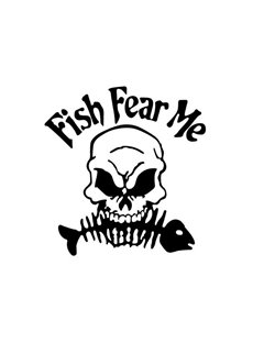 Cartoon Style The Horrific Skull Bit The Fish Bone Go Fishing Car Sticker