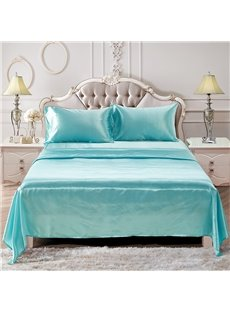 Lake Blue And Light Purple Two Colors Optional Printed Silk-like 4-Piece Bedding Sets/Duvet Covers