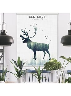 Fee-living Elk and Peaceful Forest Printing Roller Shades
