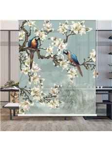 Beige Floral and Pretty Parrot 3D Printed Roller Shades