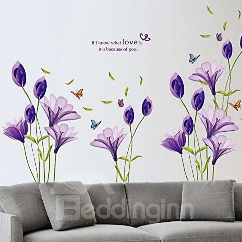 Beautiful Lovely Lily Flowers Wall Decals Removable DIY Butterfly Flower Vines Art Decor Wall Stickers Murals for Living Room TV Background Kids Gilrs Rooms Bedroom Decoration (Purple)