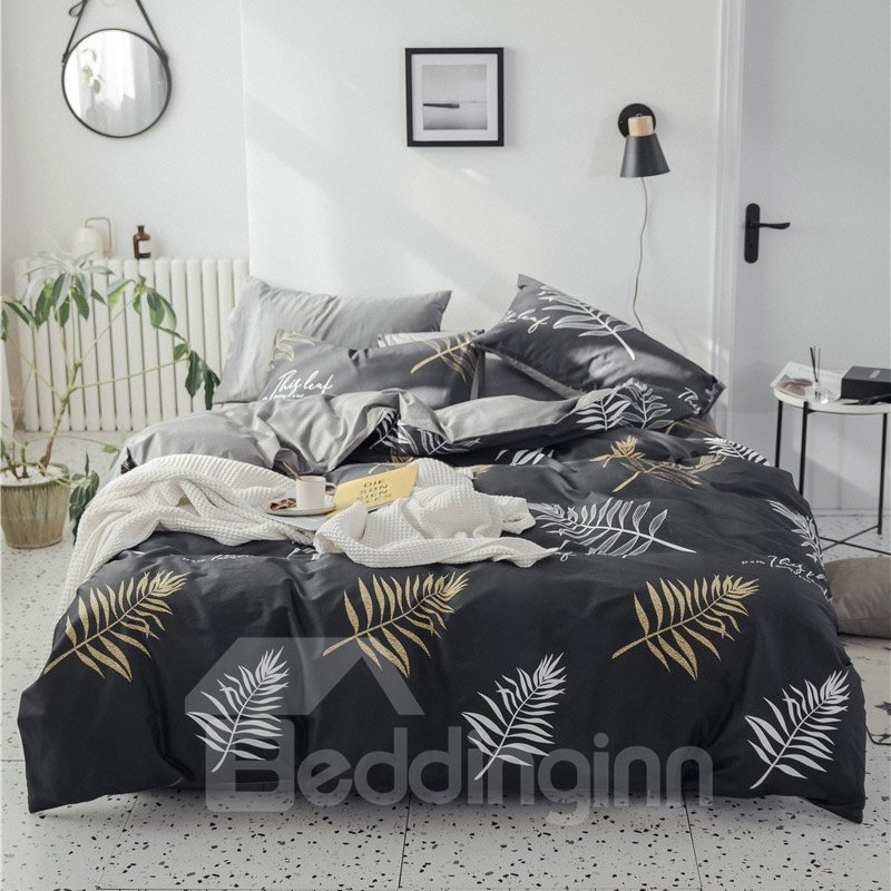 Abstract Patterns of Osmunda Japonica Concise Style 4-Piece Cotton Bedding Sets/Duvet Covers
