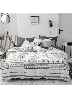 Black And White Geometry 4-Piece Cotton Bedding Sets/Duvet Covers