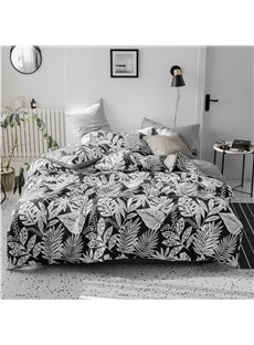 White Abstract of Various Leaves 4-Piece Cotton Bedding Sets/Duvet Covers
