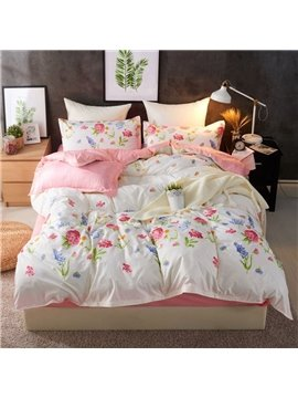 Purple Lavender And Pink Hydrangea Printed Polyester 4-Piece Bedding Sets/Duvet Covers