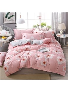 Pink Cherry Blossoms Printed Polyester 4-Piece Bedding Sets/Duvet Covers