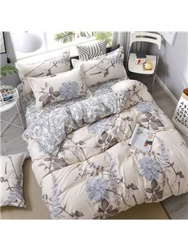 Acacia Flowers And Pale Blue Gerbera Jamesonii Printed Polyester 4-Piece Bedding Sets/Duvet Covers