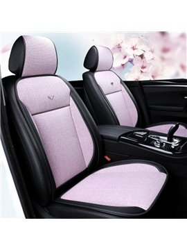 Pastoral Style Ice Silk Sewing Breathable&Coolness PU Leather Single Car Seat Cover