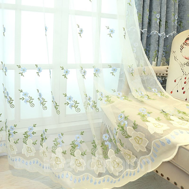 Elegant Princess Floral Decorative and Breathable Sheer Curtains
