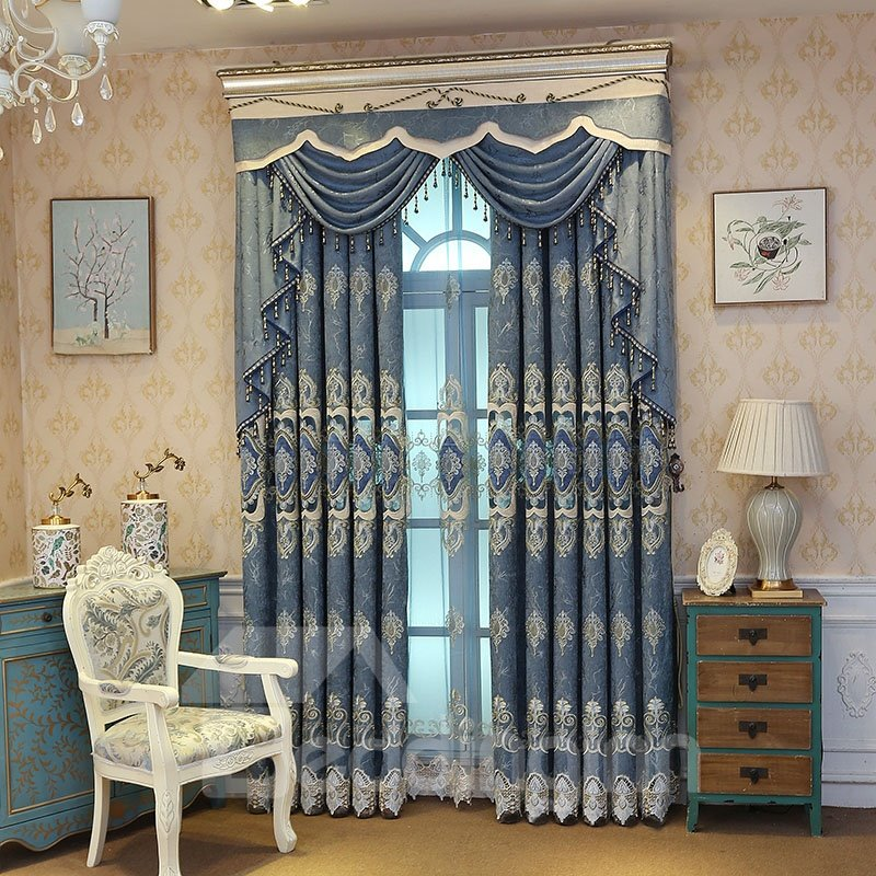River Blue Embroidered Hollowed Out Designing Curtain Pic