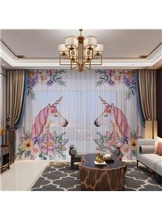 3D Pink Color Unicorns in Love Printed Romantic 2 Panels Custom Sheer
