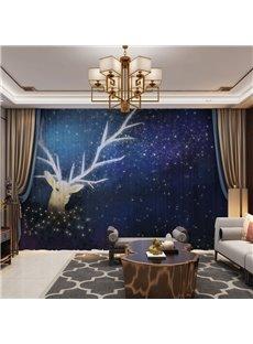 3D Fantastic Starry Sky and Imagining Elk Printed 2 Panels Custom Sheer