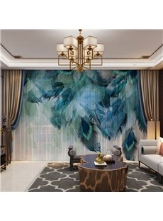 3D Beautiful and Bright Peacock Feathers Printed Decorative 2 Panels Custom Sheer Environment-friendly and Durable Thick Hair Cords No Pilling No Fading No off-lining Machine Washable