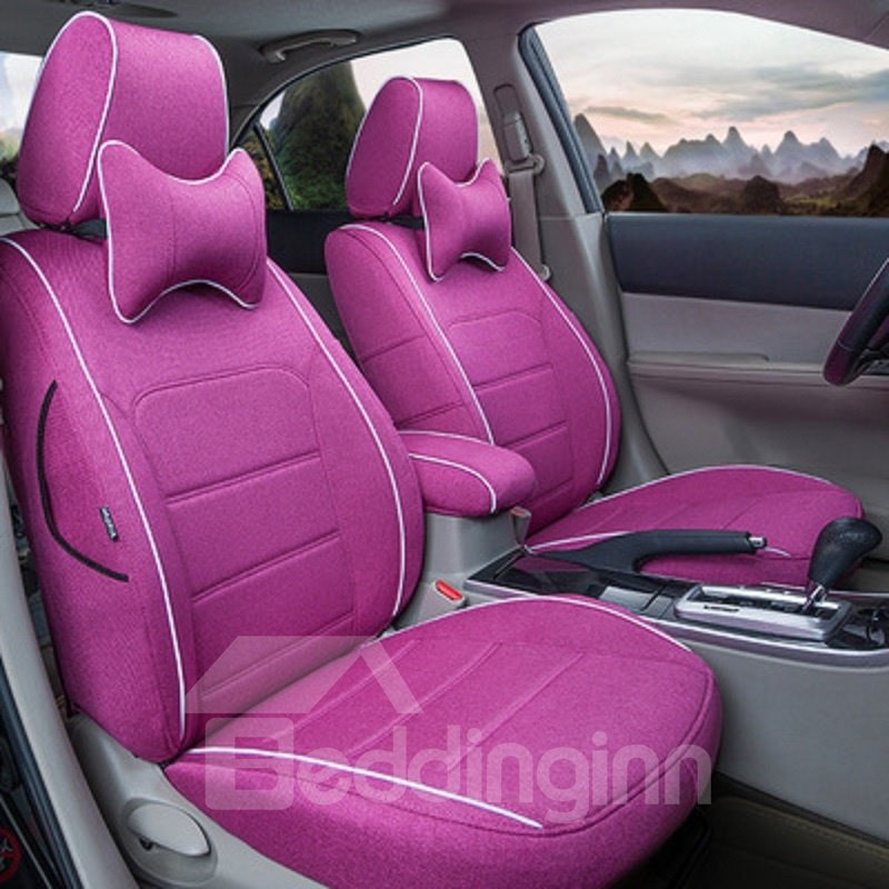 Country Style Breathable Linen Geometric Pattern Design Pure Colour Custom Fit Seat Cover