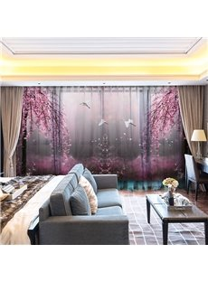 3D Cherry Blossoms Flying Crane Pink World Decorative 2 Panels Custom Sheer