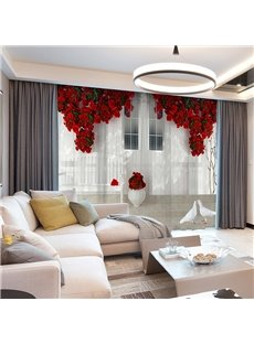 3D European Style White Wall Red Floral Printed Decorative 2 Panels Custom Sheer Environment-friendly and Durable Thick Hair Cords No Pilling No Fading No off-lining Machine Washable