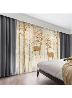 3D Yellow Elks with Colorful Antlers Printed Decorative 2 Panels Custom Sheer