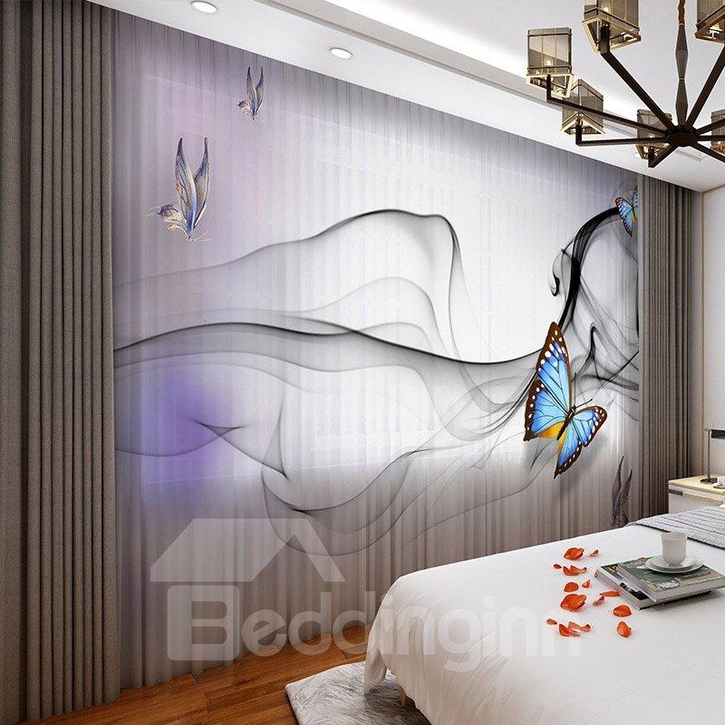 3D Colorful Butterflies Light Purple Concise Design 2 Panels Custom Sheer