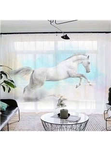 3D White Horse Printed Decorative Sheer Curtains