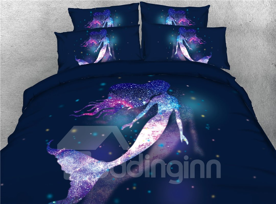 Mermaid In The Purple Galaxy 3D Printed 5-Piece Comforter Sets