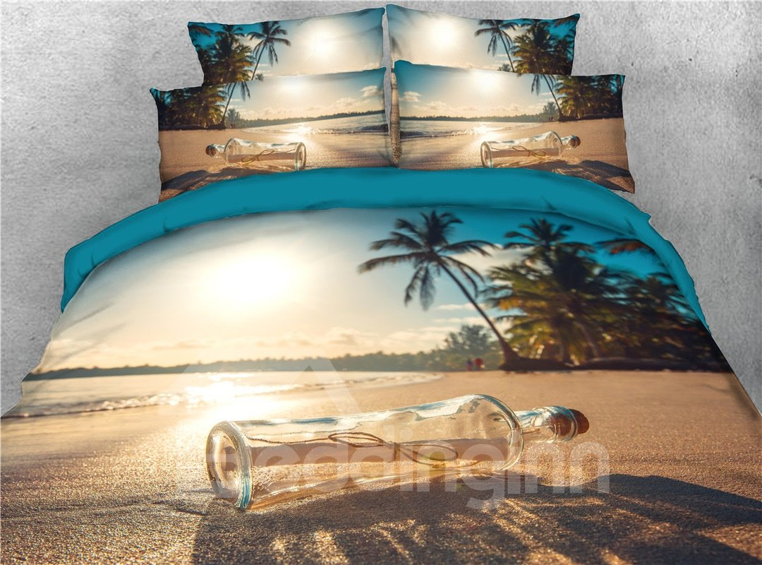 Glass Bottles On The Beach 3D Printed 5-Piece Comforter Set Ultra-soft Microfiber