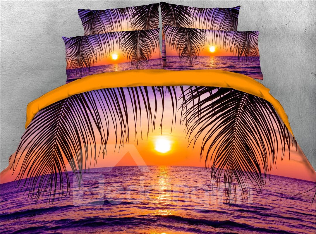 Purple Sea Under Golden Sunset 3d Printed 5 Piece Comforter Sets Pic