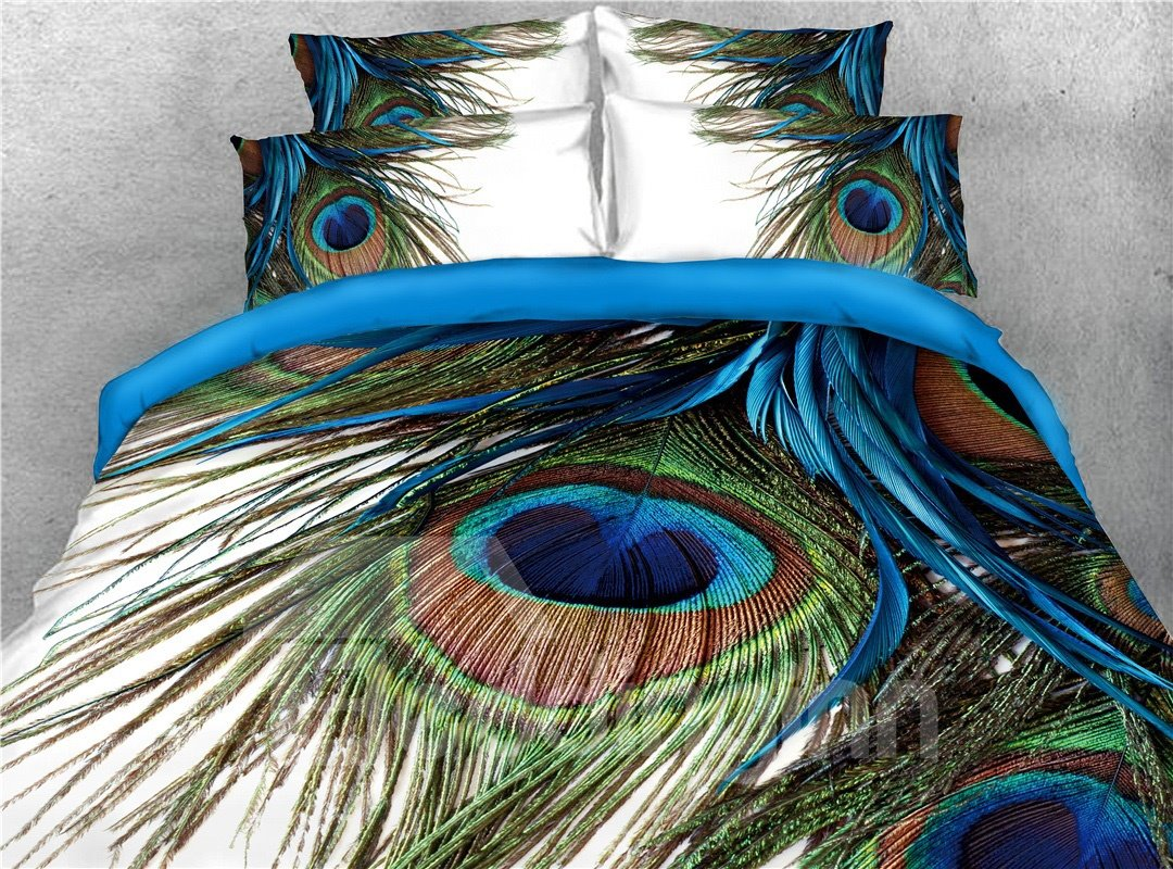 Peacock Feathers 3d Printed 5 Piece Comforter Sets Pic