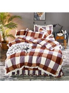 Soil Orange And Purple Large Check Velvet 4-Piece Fluffy Bedding Sets/Duvet Cover