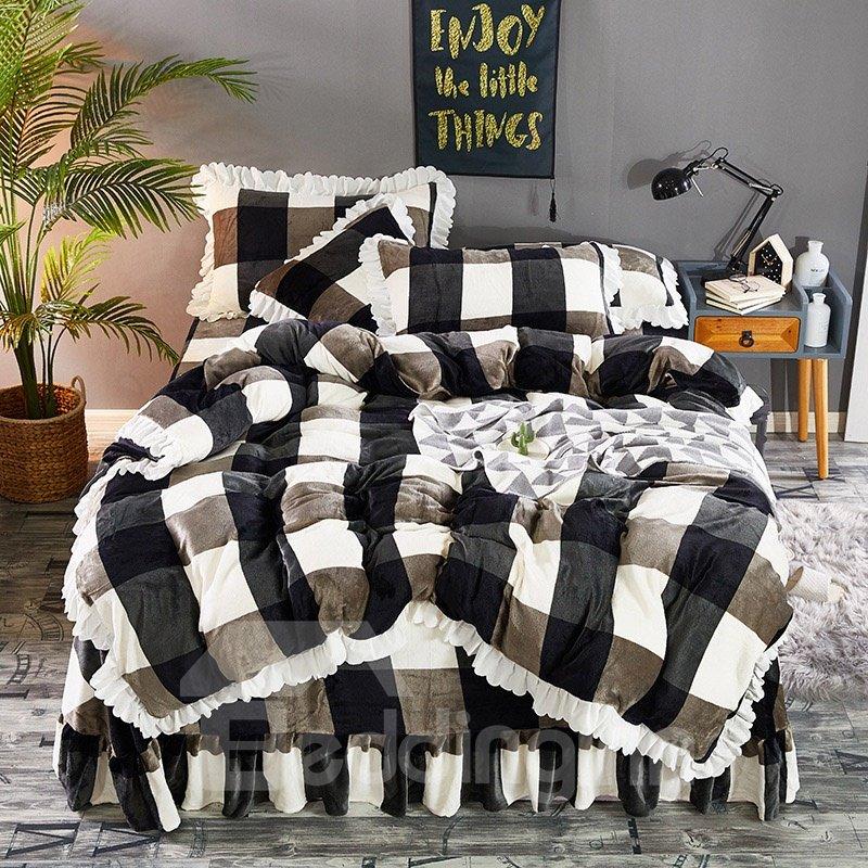 Carbon Black And Brown Large Check Velvet 4-Piece Fluffy Bedding Sets/Duvet Cover