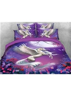 White Unicorn Leaping Among Roses In The Purple Night 3D Printed 4-Piece Polyester Bedding Sets/Duvet Covers
