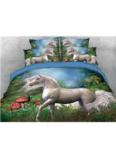 The White Unicorn In The Red Mushroom Farm 3D Printed 4-Piece Polyester Bedding Sets/Duvet Covers