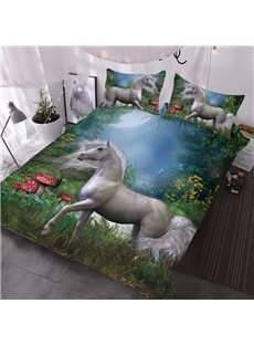 The White Unicorn In The Red Mushroom Farm 3D Printed 3-Piece Comforter Sets