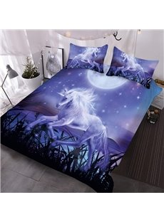 Unicorn Near The Reeds In The Purple Moonlight 3D Printed 3-Piece Comforter Sets