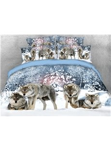 Four Wolves Prostrate or Standing Looking Ahead 3D Printed 4-Piece Polyester Bedding Sets/Duvet Covers