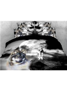 The Wolf Look Into The Distance On The Peak In The Moonlight 3D Printed 4-Piece Polyester Bedding Sets/Duvet Covers