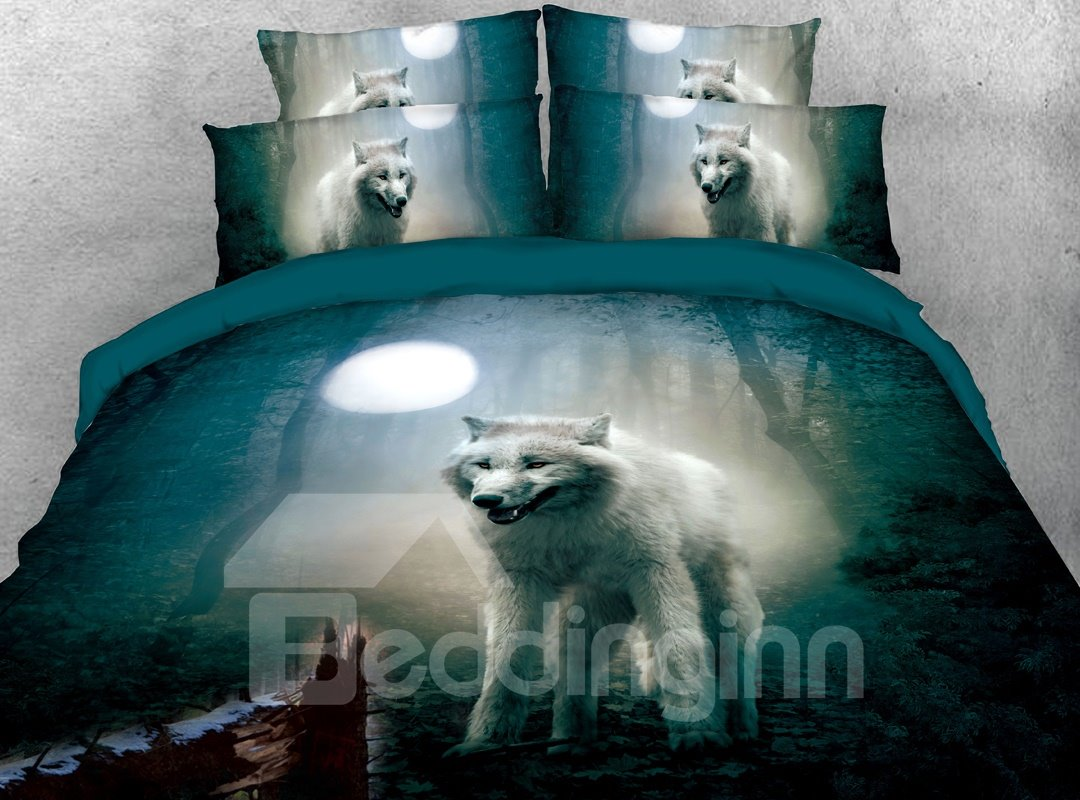 The White Wolf In The Green Forest 3D Printed 4-Piece Polyester Bedding Sets/Duvet Covers