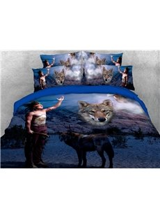 The Indian And The Wolf In The Night 3D Printed 4-Piece Polyester Bedding Sets/Duvet Covers