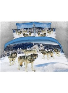 Five Wolves Foraging In The White Snow 3D Printed 4-Piece Polyester Bedding Sets/Duvet Covers
