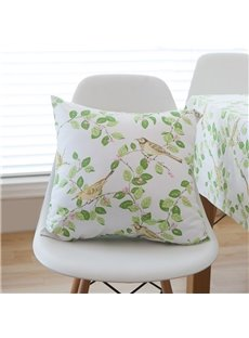 Green Leaf Cotton Pillowcase For Sofa Back Cushion And Office Pillow