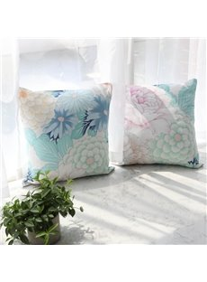 Floral Square Cotton Pillowcase For Sofa Back Cushion And Office Pillow