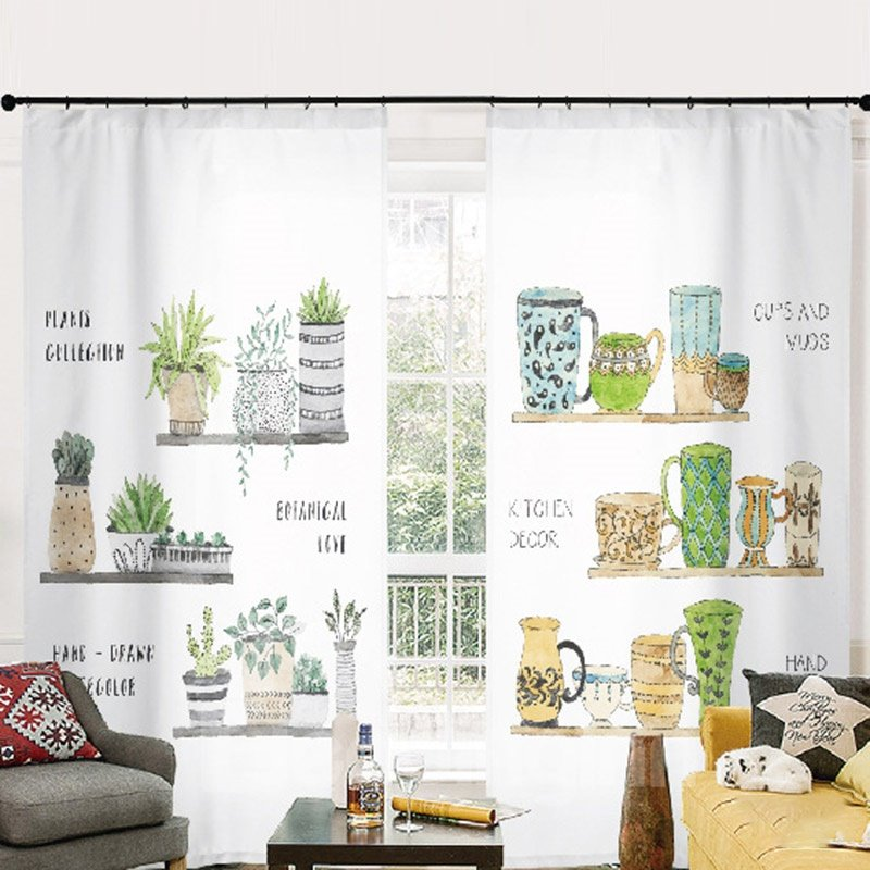 3D Concise Style Green Plants and Cups Printed Semi Blackout Curtains