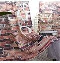 3D Red Brick Wall Printed Decorative Custom Semi-Blackout Curtains