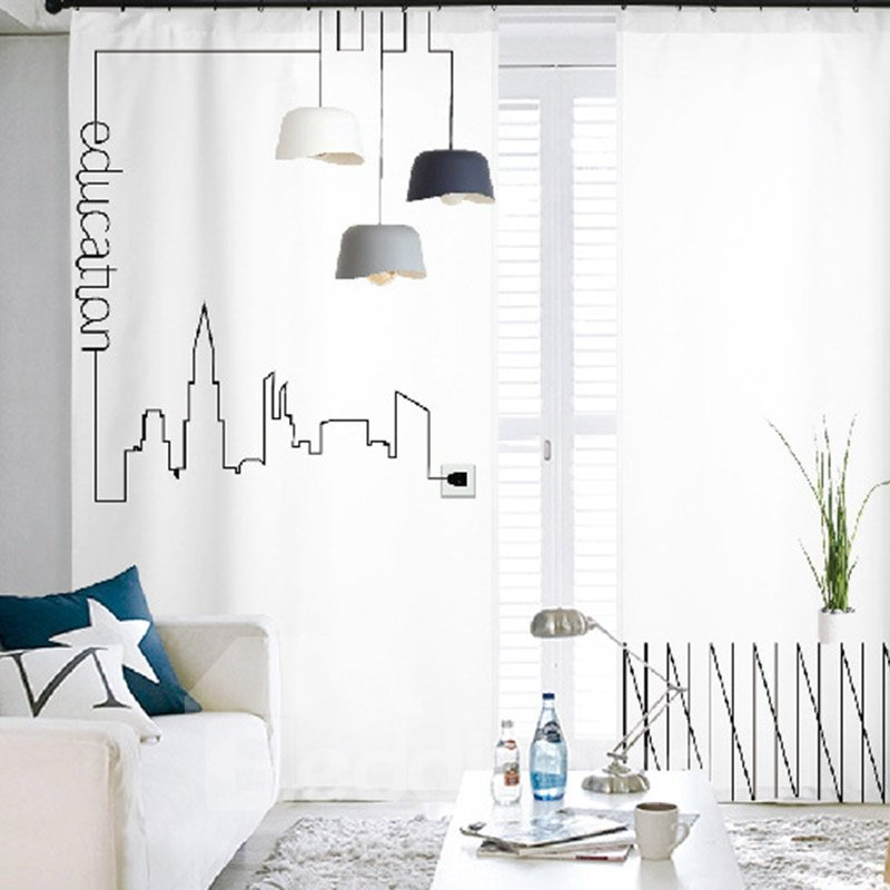 3D Minimalism Style Modern Home Life Simple Sketch Printed Semi-blackout Curtains