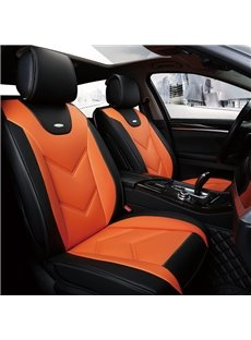 Sports Style Color Block Real Leather Wear-Resistant And Dirt-Proof EasyClean Personalized Universal Fit Seat Covers