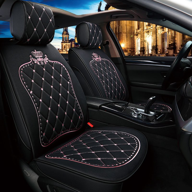 Princess Crown Pattern Linen High End Universal Fit Seat Covers Pic